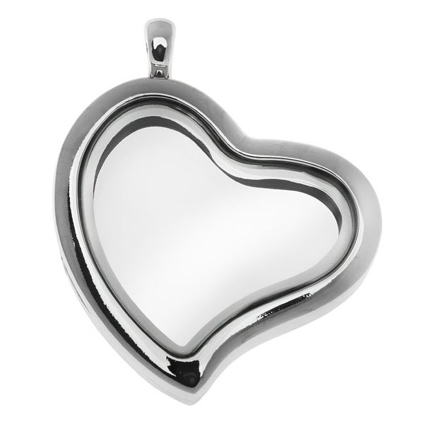 Floating Locket Pendant, Tilted Heart with Glass Window 29mm, 1 Piece, Silver Plated