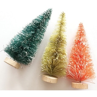 Merry & Bright Bottle Brush Trees-4""
