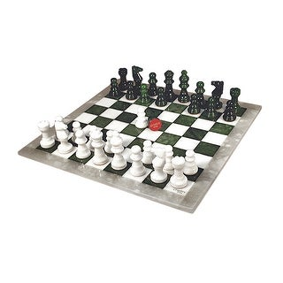 Green & White Alabaster Chess Set - Multicolored
