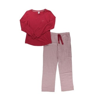 Calvin Klein Womens Two-Piece Pajamas Flannel Knit - M