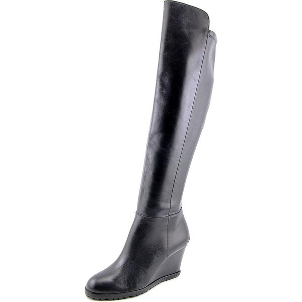 15fa434c68c Michael Michael Kors Clara Wedge Tall Round Toe Leather Over the Knee Boot