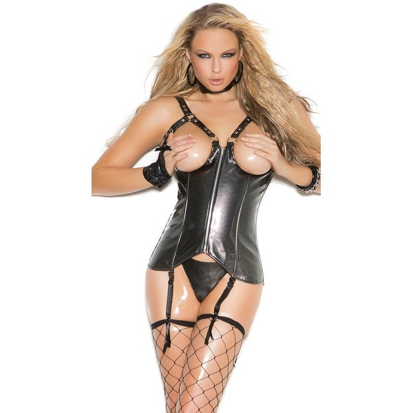 daddfa0b04 Shop Plus Size Open Cup Vinyl Zip Up Corset With G-string