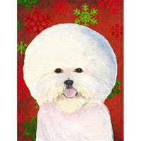 Bichon Frise Red And Green Snowflakes Holiday Christmas Flag -