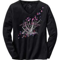 Legendary Whitetails Women's Floral Shed Black V-Neck T-Shirt