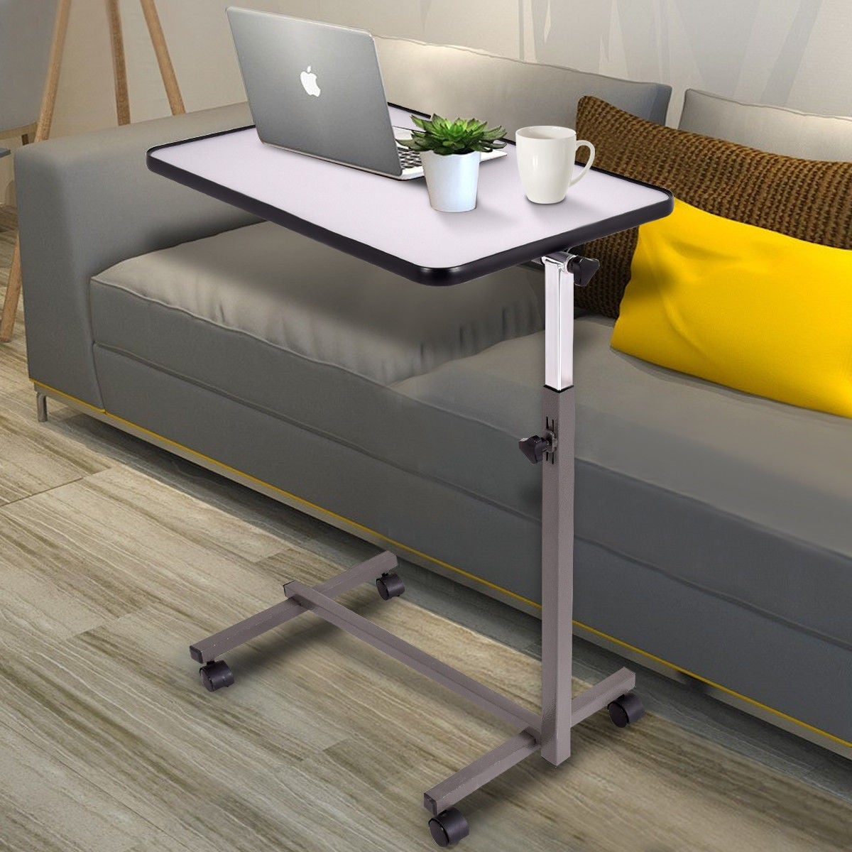 Surprising Gymax Overbed Rolling Table Over Bed Laptop Tray Tilting Top Gary Download Free Architecture Designs Lukepmadebymaigaardcom