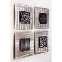 Statements2000 3D Metal Wall Art Accent Sculpture Modern Black Silver Decor by Jon Allen (Set of 4) - Freestyle