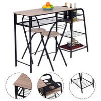 Costway 3 PC Pub Dining Set Table Chairs Counter Height Home Breakfast w/Storage Shelves - as pic