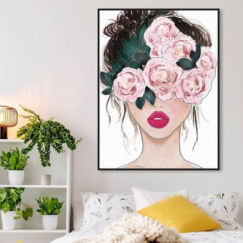 Oliver Gal 'Flower Blind' Floral and Botanical Wall Art Framed Canvas Print Florals - Pink, Pink