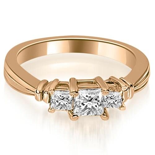 1.50 cttw. 14K Rose Gold Thee Stone Princess Cut Diamond Engagement Ring