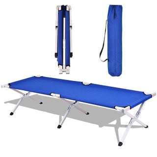 Costway Blue Foldable Camping Bed Portable Military Cot Hiking Travel w/ carrying Bag
