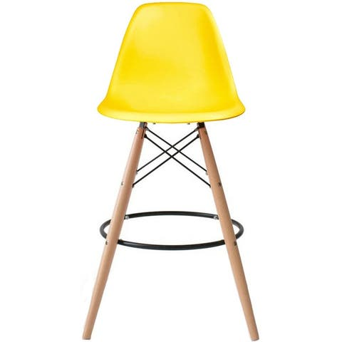 25 inch Seat Designer DSW Counter Stool Barstool With Backs Molded High Chair Kitchen Eiffel Wooden Work Armless Work
