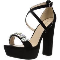 Qupid Women's Platform Heeled Sandal, Black Velvet, Size 6.0