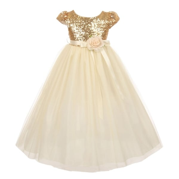 389a78ba73 Shop Big Girls Gold Sequin Bodice Floral Adornment Tulle Flower Girl Dress  8-12 - Free Shipping Today - Overstock - 18175643