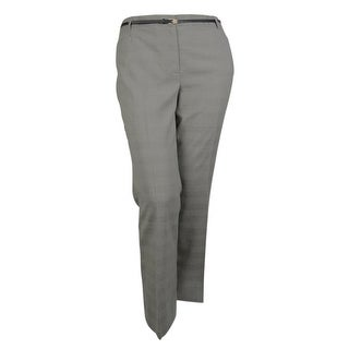 Calvin Klein Women's Belted Modern Fit Glen Plaid Pant - Black/Cream