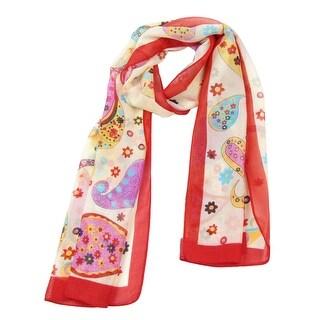 Unique Bargains Girls Multicolor Paisley Print Chiffon Neck Wrap Scarf  Shawl Pashmina