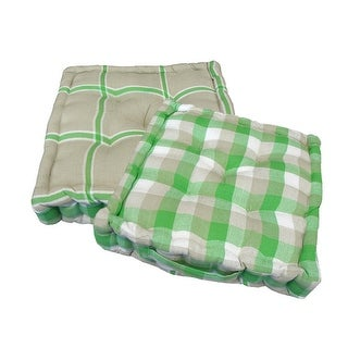 "15"" Plush Green, White and Beige Plaid Reversible Indoor Chair Cushion"