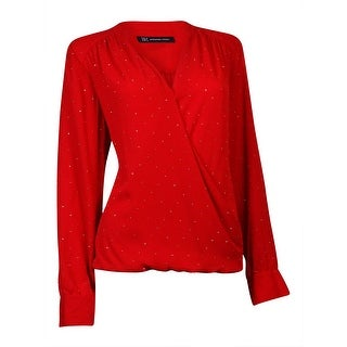 INC International Concepts Women's Embellished Surplice Blouse (12, Real Red) - real red
