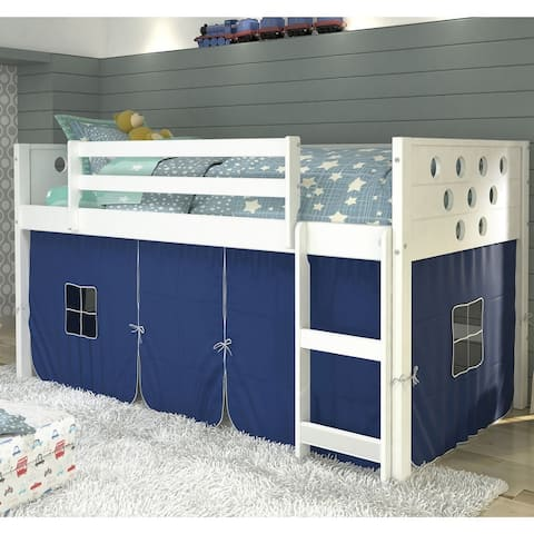 Donco Kids' Twin Circles Low Tent White Loft Bed