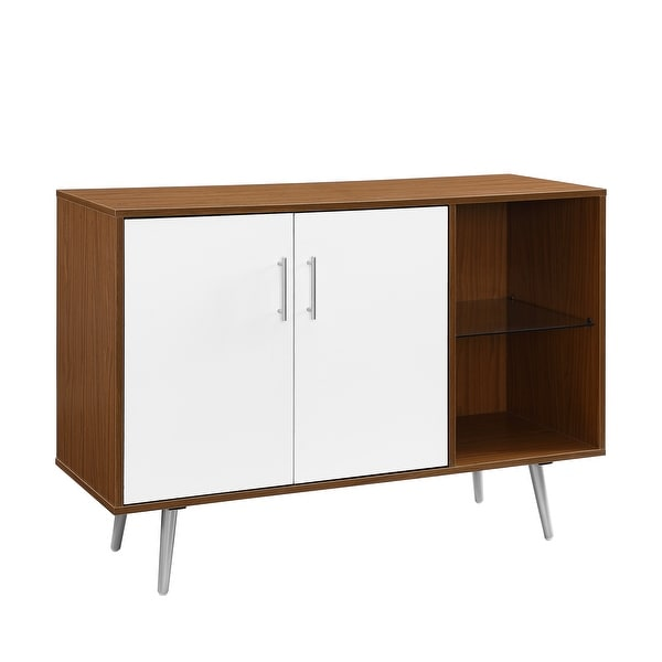 """Delacora WE-BDU44MCA 44"""" Wide Glass, Laminate, Wood and Metal Buffet Table"""