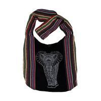 Striped Henna Elephant Cotton Tapestry Cross Body Bag