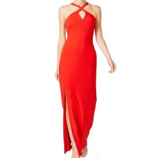 Calvin Klein Fire Red Womens Size 12 Keyhole Solid Sheath Dress