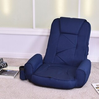 Costway Blue Adjustable Folding Lazy Sofa Floor Chair Sofa Lounger Bed  Couch Cup Holder