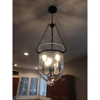 Antique Copper-Finish 60-Watt Glass Lantern Chandelier