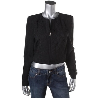 Jessica Simpson Womens Faux-Suede Cut-Out Cropped Jacket - M