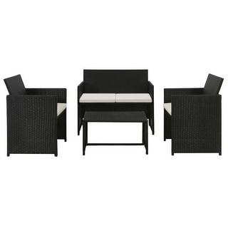 "vidaXL 4 Piece Garden Lounge with Cushions Set Poly Rattan Black - 39.4"" x 22"" x 33.5"""