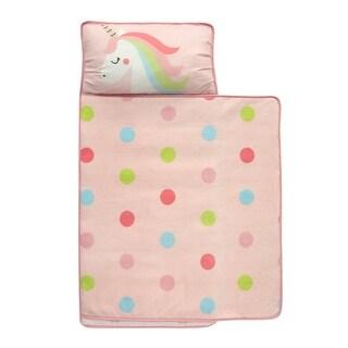 Lambs & Ivy Pink Unicorn and Rainbow Dot Toddler Nap Mat