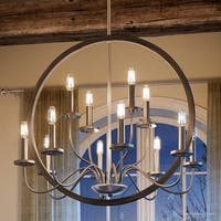 "Luxury Modern Farmhouse Chandelier, 28.75""H x 32""W, with English Country Style, Brushed Nickel Finish by Urban Ambiance"