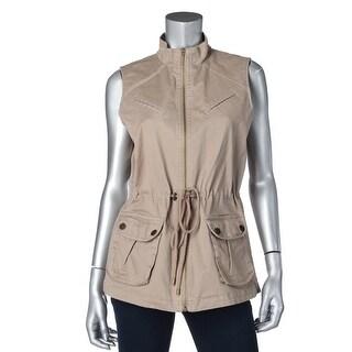 Tahari ASL Womens Rob Twill Zip Front Casual Vest