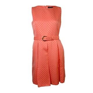 Tahari Women's Jinny/Nathan Belted Jacquard A-Line Dress