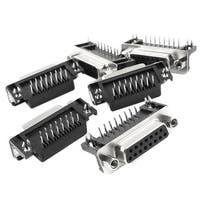 6Pcs DB15 DB-15 15 Pins 90 Degree Female Plug D-sub Cable Connector Adapter