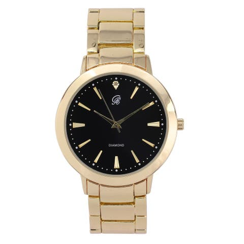 Elegant&Classy Mens Watch for All Occasions-Genuine Diamond at 12 o'clock & Easy Reader Simplistic Slashes at Every Hour - 4904D