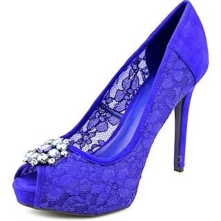 Guess Hotspot Women Open Toe Canvas Blue Platform Heel