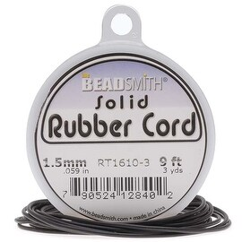 Beadsmith Black Solid Rubber Cord For Jewelry & Crafts 1.5mm / 9ft Spool