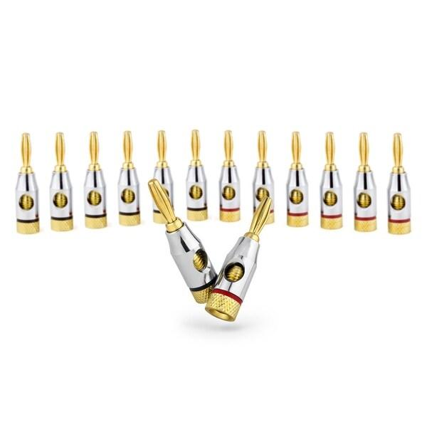 Sewell Ocelot Banana Plugs, 24k Gold Connectors, Open Screw Type, 6 Pair