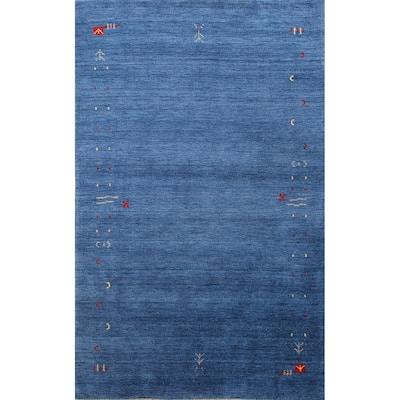"Tribal Contemporary Gabbeh Lori Oriental Wool Area Rug Handmade - 4'8"" x 6'5"""