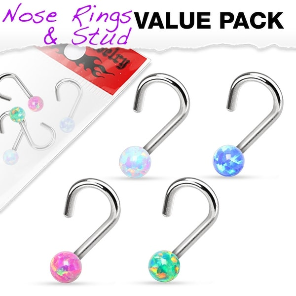 4 Pcs Value Pack of Assorted Opal Ball 316L Surgical Steel Nose Screw