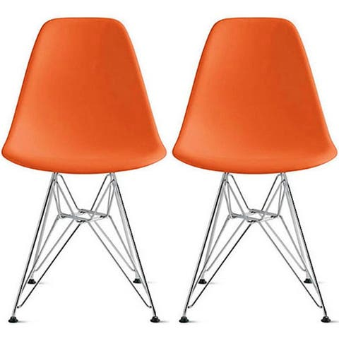 2xhome Modern Color Pyramid Seat Height DSW Molded Armless Plastic Dining Room Chairs Chrome Wire Eiffel Dowel Legs