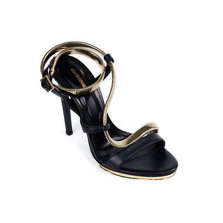 Roberto Cavalli Womens Black Leather Gold Strap Pumps