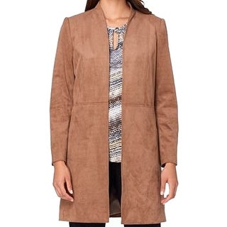 Tahari by ASL NEW Brown Faux-Suede Women's Size 16 Long Open Jacket