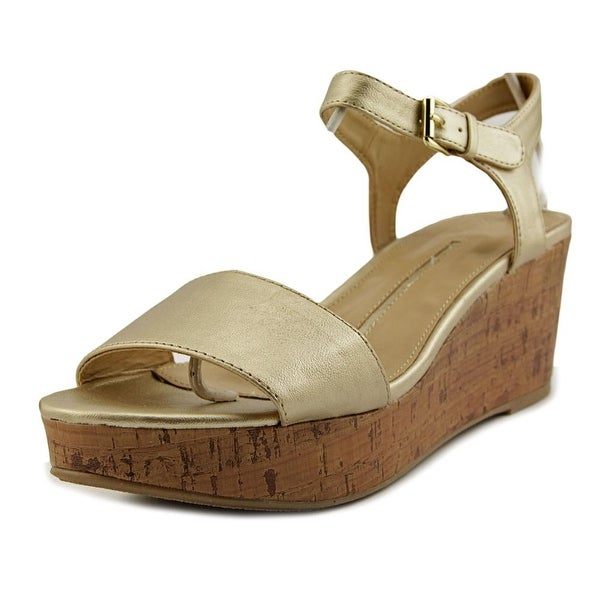 New Directions Joyce Open Toe Synthetic Wedge Heel