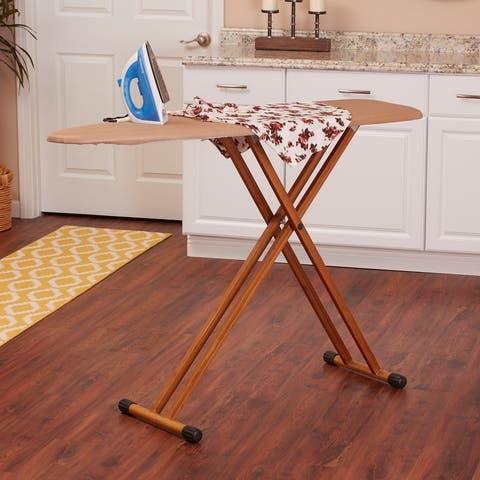 Household Essentials Bamboo 4-Leg Ironing Board with Steel Top, Fiber Pad and Heat-Resistant Tan FiberTech Cover