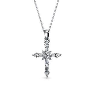 .925 Silver Emerald Cut Baguette CZ Cross Pendant Necklace