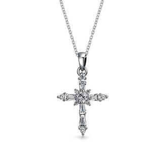 .925 Silver Emerald Cut Baguette CZ Cross Pendant Necklace