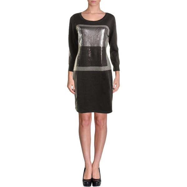 Calvin Klein Womens Sweaterdress Sequined Colorblock