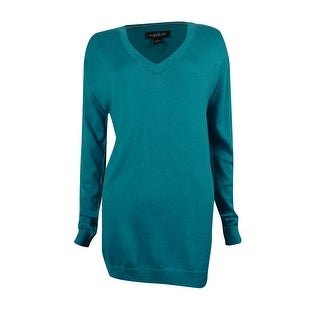 August Silk Women's V-neck Long Sleeve Sweater - l