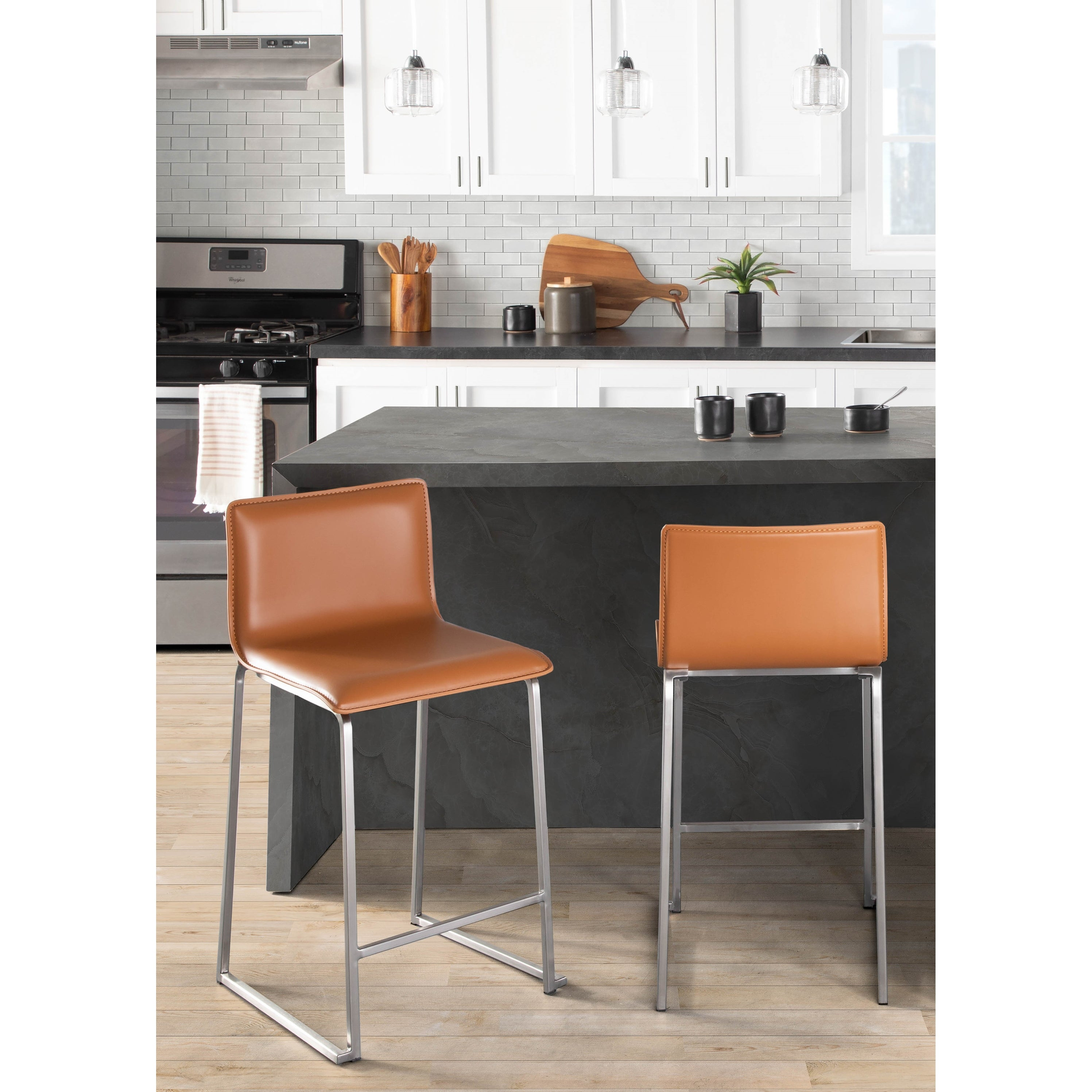 Mara Contemporary Upholstered Counter Stool in Stainless Steel ...